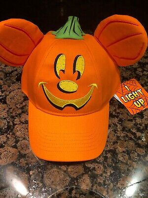 Disney 2019 Mickey Ear Baseball Cap Hat Halloween Pumpkin Head Adult Lights Up