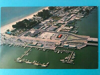 Vintage chrome card with aerial view of Clearwater Beach Florida (FL-55)