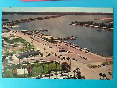 Vintage chrome card aerial view of Clearwater Beach and Marina, Florida (FL-56)