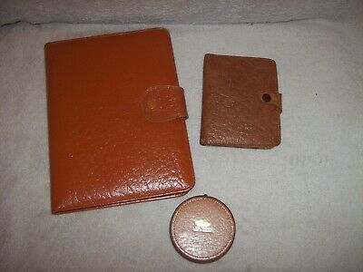 3 Vintage Leather Items Wallet, Writing Case & Arden Forest Jewellery/Stud Box