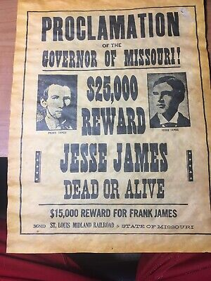 3 Old West Posters Outlaw Billy the Kid Jesse James