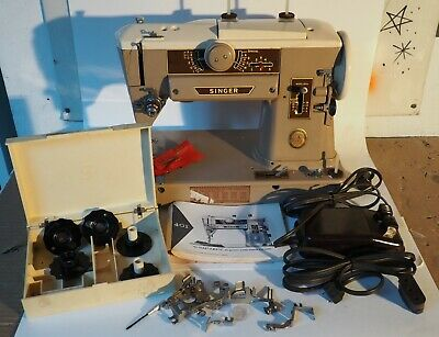 Vintage SINGER Slant-O-Matic SEWING MACHINE 401A w Pedal & Manual & Accessories