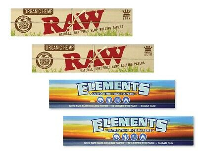 2 PACKS KING SIZE SLIM RAW ORGANIC + 2 PKS ELEMENTS Ultra Thin Rolling Papers