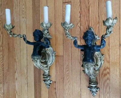 Vintage Pair Blackamoor Brass Cherub Rococo Double Light Sconces