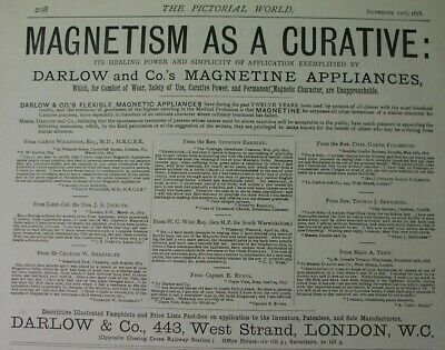 1878 ad: Darlows Magnetism Curative; magnetic health gadgets; quakery, magnetine