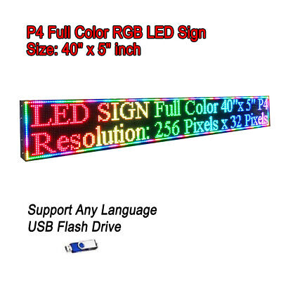 """5500Nits P4 40""""x 5"""" Full Color LED Sign Programmable Scrolling Message Display"""