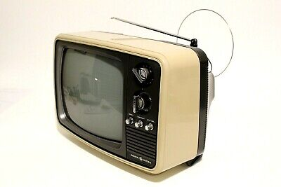 "Vintage 1983 GE B&W 12"" TV Set Retro Black and White."