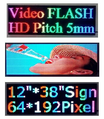 """5000Nits 38""""x 12"""" Full Color P5 LED Sign Programmable Scrolling Message Display"""