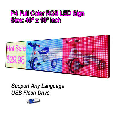 """5500Nits 40""""x 10"""" Full Color P4 LED Sign Programmable Scrolling Message Display"""
