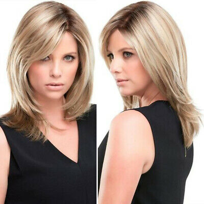 WOMEN\u0027S LONG BOB Wigs Middle Part Silky Straight Synthetic