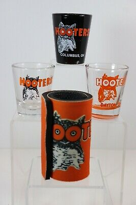 Vintage Shot Glasses, Hooters Shot Glasses, Lot Of 3 And Hooters Glass Cooler