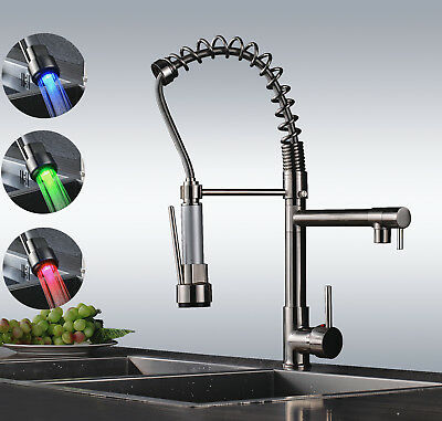 LED Brushed Nickel Swivel Kitchen Pull Down Spring Spray Sink Faucet Mixer Tap