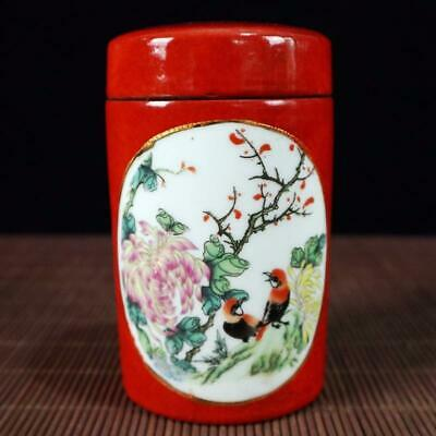 Chinese old Handmade painting red flowers and birds porcelain Tea caddy pot