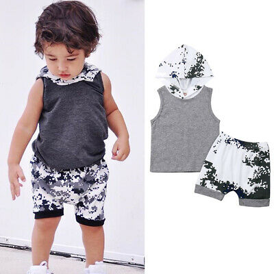 US Toddler Kids Newborn Baby Boys T-shirt Tops+Short Pants Outfit Summer Clothes