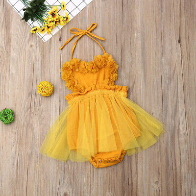 US Infant Newborn Baby Girl Summer Lace Romper Clothes Playsuit Dress Outfit