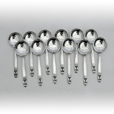 Acorn 12 Cream Soup Spoons Set Georg Jensen Sterling Silver 1950