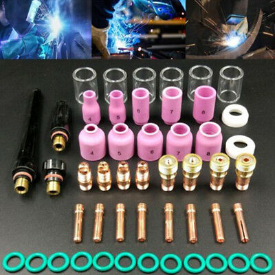 49Pcs tig welding torch stubby gas lens glass cup kit for wp-17/18/26 S6 FA