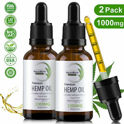 2 pack mint Hemp Oil Organic Extract For Pain, Stress Anxiety, Sleep 1000mg
