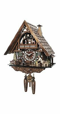 Quartz Cuckoo Clock Black forest house with music and dancers  EN 4951 QMT NEW