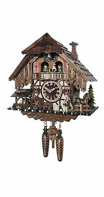 Quartz Cuckoo Clock Black forest house with music and dancers.. EN 48718 QMT NEW