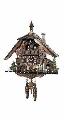 Quartz Cuckoo Clock Black forest house with music and dancers.. EN 48115 QMT NEW