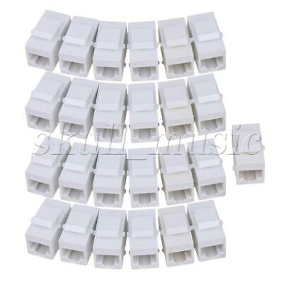 25PCS Cat6 RJ45 Ethernet Inline Jack Coupler Keystone Latch Female to Female
