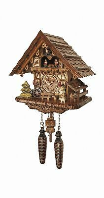 Quartz Cuckoo Clock Black forest house with music and dancers EN 4692 QMT NEW