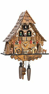 Quartz Cuckoo Clock Black Forest house with moving wood choppe.. EN 4661 QMT NEW