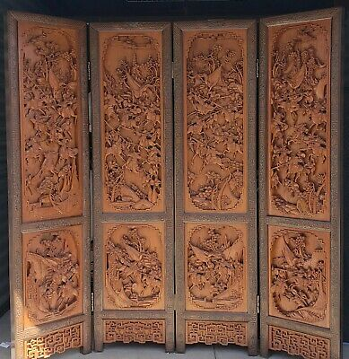 """ANTIQUE CHINESE LARGE 4 PANELS 80"""" x 72"""" CARVED ROOM SCREEN DIVIDER ART CRAFT"""