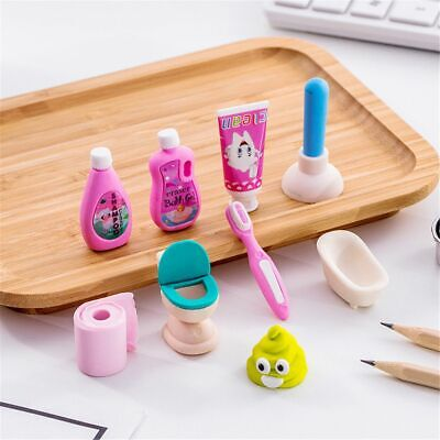 4pcs Funny Bathroom Set Erasers Lovely Kids Gifts Pencil Rubbers Office Supplies