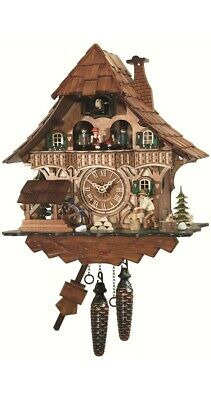 Quartz Cuckoo Clock Black Forest house with moving wood chopper.. EN 496 QMT NEW