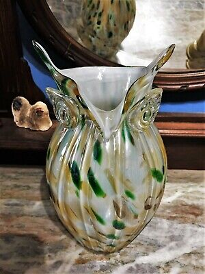 Vintage Hand Blown Owl Vase with Colorful Glittery Earth Tones - Made in Italy