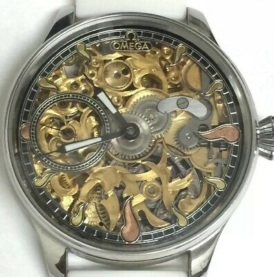Genuine Antique Omega SKELETON Winding Converted Wrist Watch Gold 15 Jewel Swiss