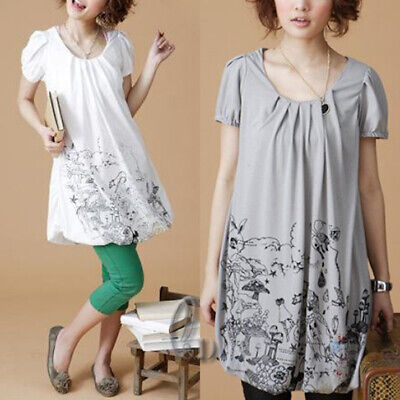 Au Stock Womens Girls Cotton Casual A-Line Blouse Long Top Tee T015