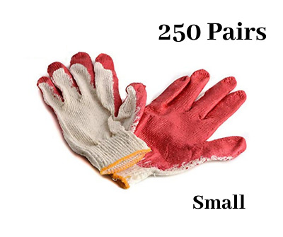 250 Pairs Red Latex Coated Cotton Work Gloves Small