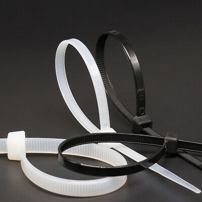 Cable Ties 8 x 500mm Plastic Nylon Zip Tie Strong Binding Strap Black & White