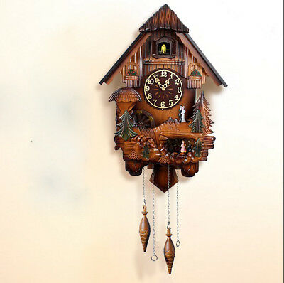 20 Inch '' Wooden Cuckoo Coo Living Room Bedroom Rocking Wall Clock