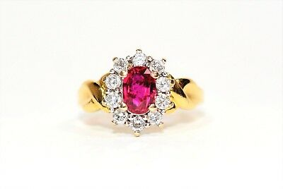 Superb Certified 1.47tcw Untreated Ruby & Diamond 18kt Yellow Gold Ring