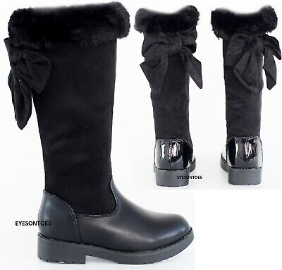 Girls Winter Warm Faux Fur Over The Knee Flat Boots Kids School Comfy Shoes Size