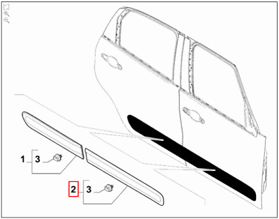 Genuine Brand New Fiat 500L (2012-2017) Offside / Right Hand Front Door Moulding