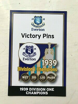 Danbury Everton Fc Victory Pin Information Card 1939 Division One 1 Champions