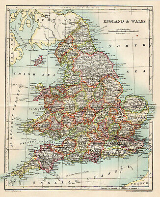 Antique Map Of England & Wales C1900 W&AK Johnston