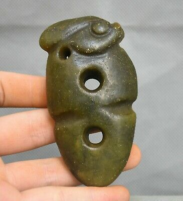 "3.6"" Rare Hongshan Culture Old Jade Stone Carved Sun God Head Amulet Pendant"