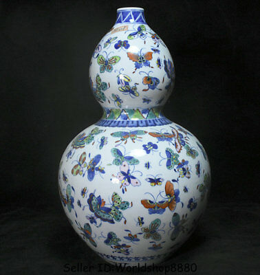 """15.2"""" Marked Old China Blue White Doucai Porcelain Butterfly Gourds Bottle Vase"""