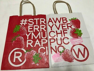 Japan Starbucks Paper Bag Lot of 2 - Strawberry Very Much Frappuccino 2018