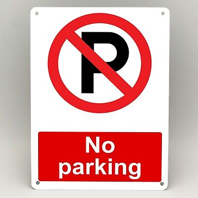 NO PARKING METAL SIGN Warning Prohibit RED A5 & A4 Rigid WEATHERPROOF