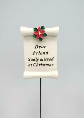 Friend Christmas Poinsettia Scroll Memorial Stick Xmas Tribute Stake Remembrance