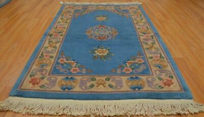 3'7 x 5'7 Aubusson Design Vintage Chinese Oriental Handmade Wool Area Rug 4 x 6