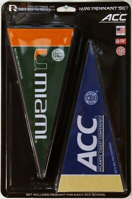 NCAA ACC (Atlantic Coast) Conference Teams 4x9 Mini PENNANT Banner Flag Set