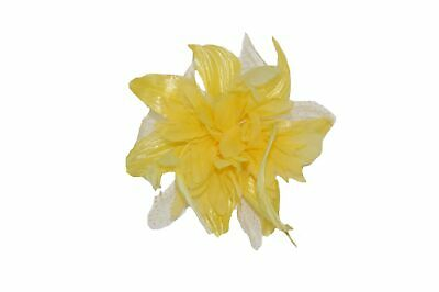 Yellow Chiffon Flower Fascinator with Feather Tendrils. Ladies, Girls UK